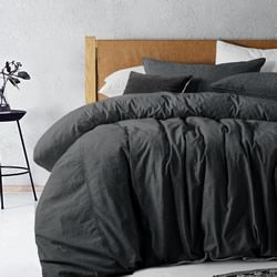 Black Overdyed Linen Quilt Cover Set
