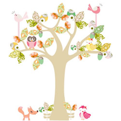 Enchanted Neutral Pink Tree Stickers