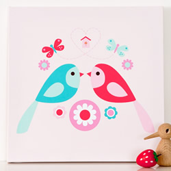 Forest Love Birds Wall Canvas
